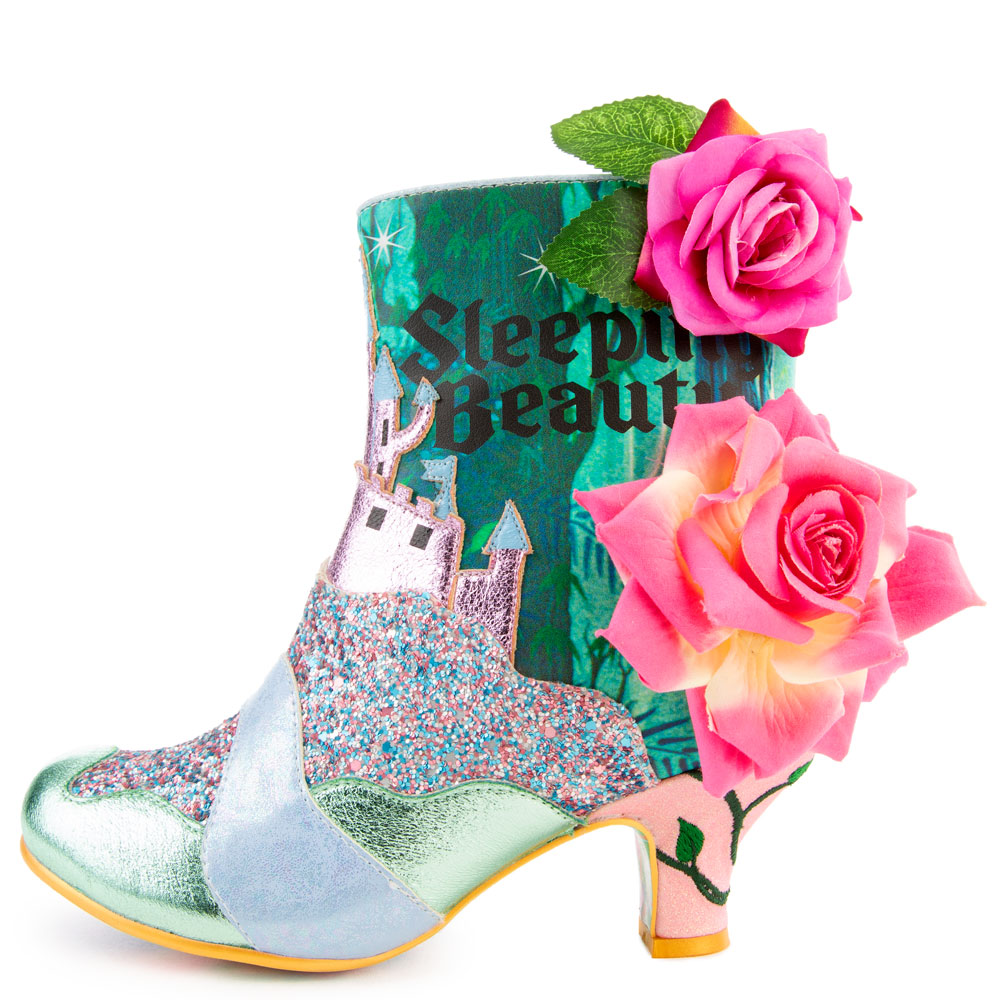 Disney x Irregular Choice Princess of Beauty Boots Green/Pink/Gold
