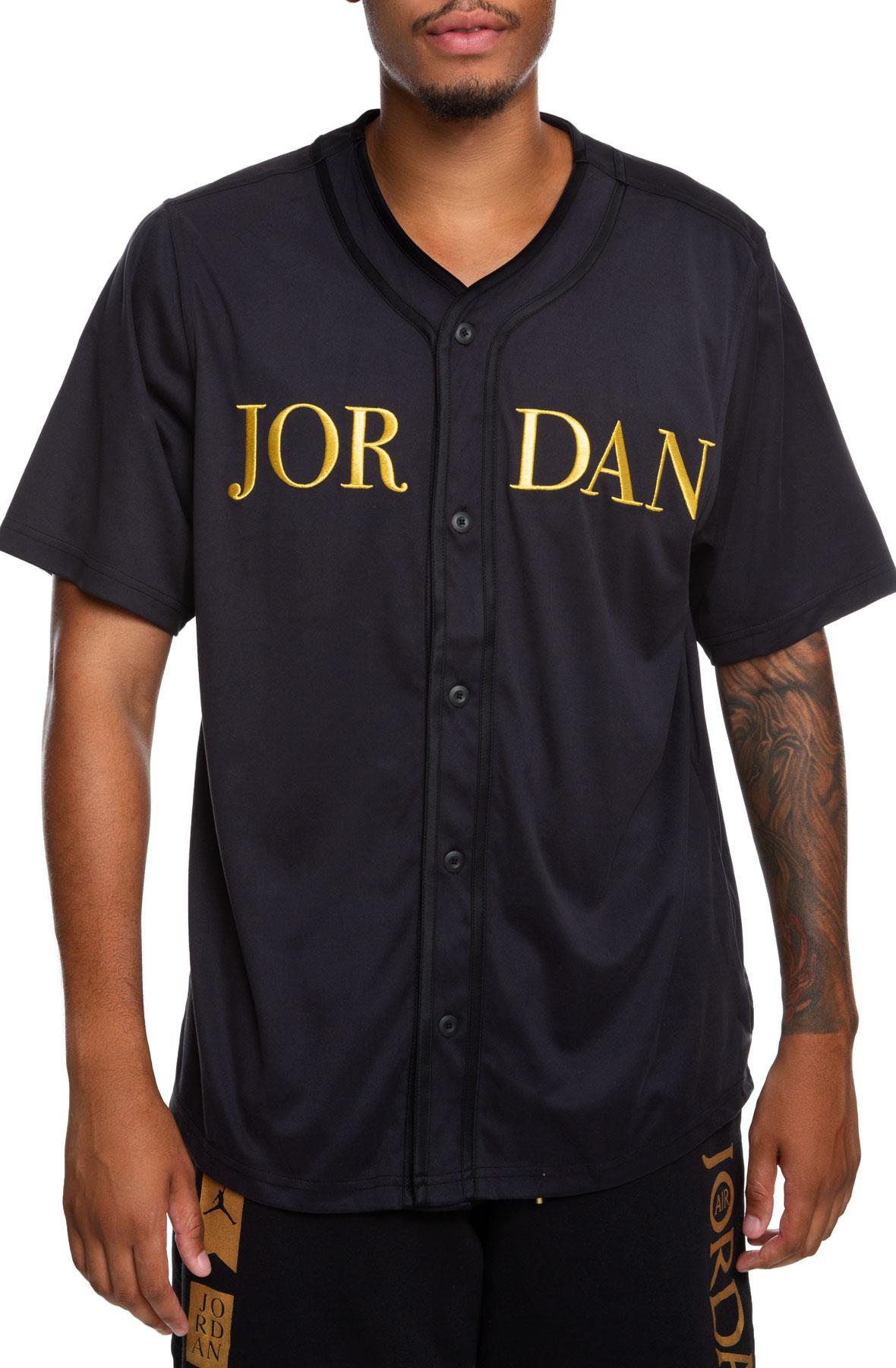 competitive price 5088d cb5f7 MJ Remastered Baseball Jersey Black/Metallic Gold