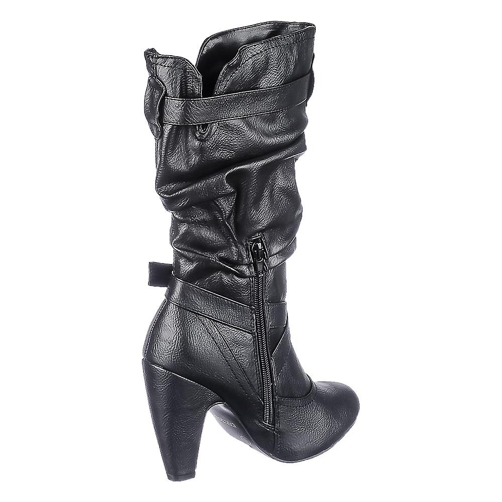 9a2b9956a61 Women's Low Heel Boot Mozza-06 Black PU