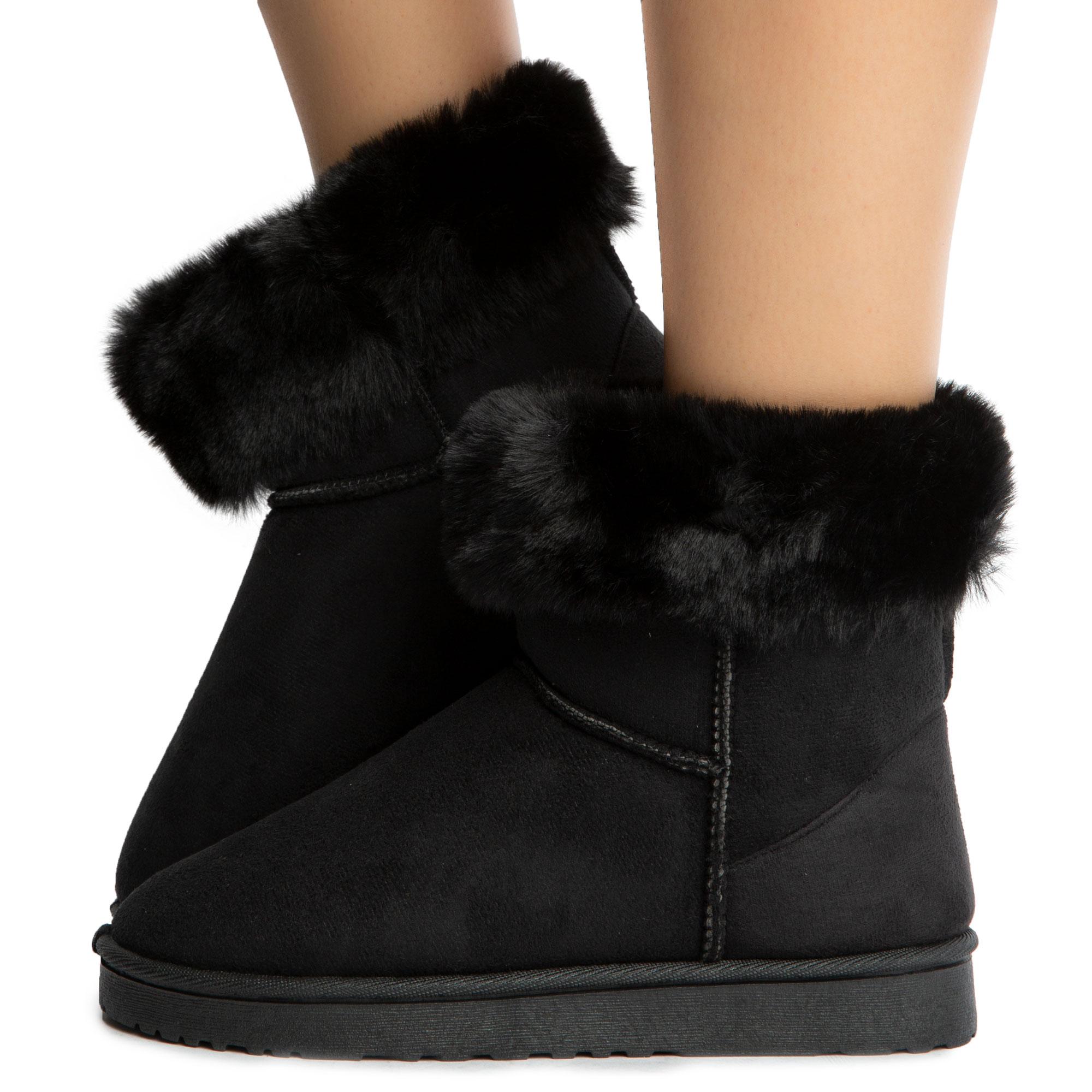 Kozy-R001 Fur Boots Black Suede