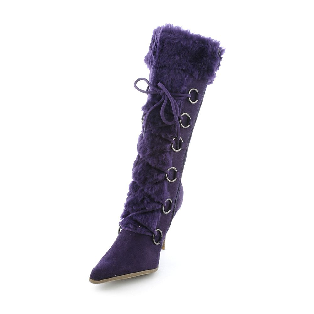 shiekh rime h s purple high heel fur boots shiekh
