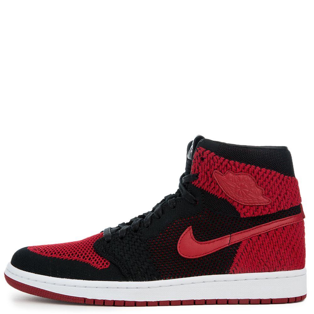 cheaper 85167 621b4 ... where can i buy mens air jordan 1 retro hi flyknit black varsity red  white 66555