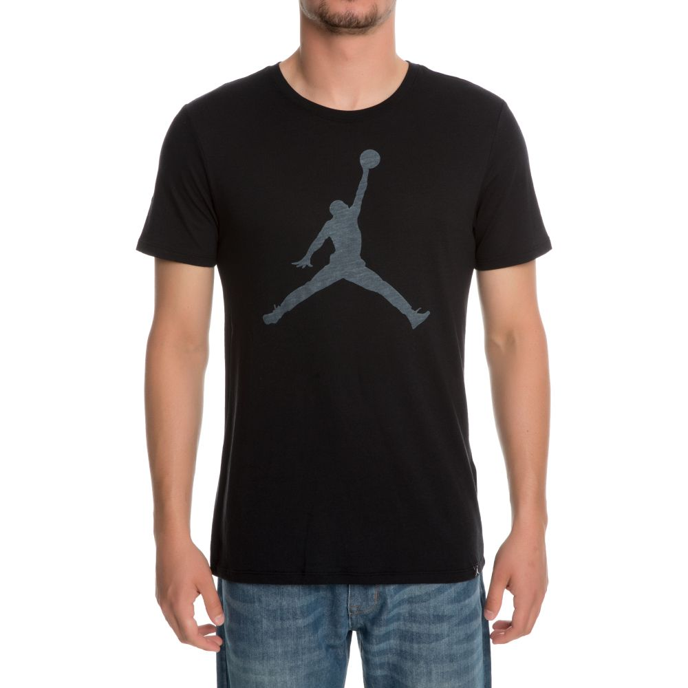 34c48311041982 Jordan Iconic Jumpman Logo T-Shirt BLACK WHITE