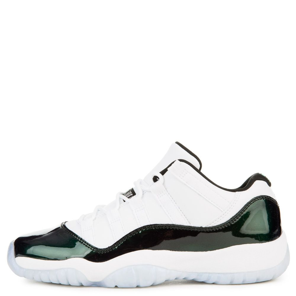 6b4f27d13385 AIR JORDAN 11 RETRO LOW BG WHITE BLACK-EMERALD RISE