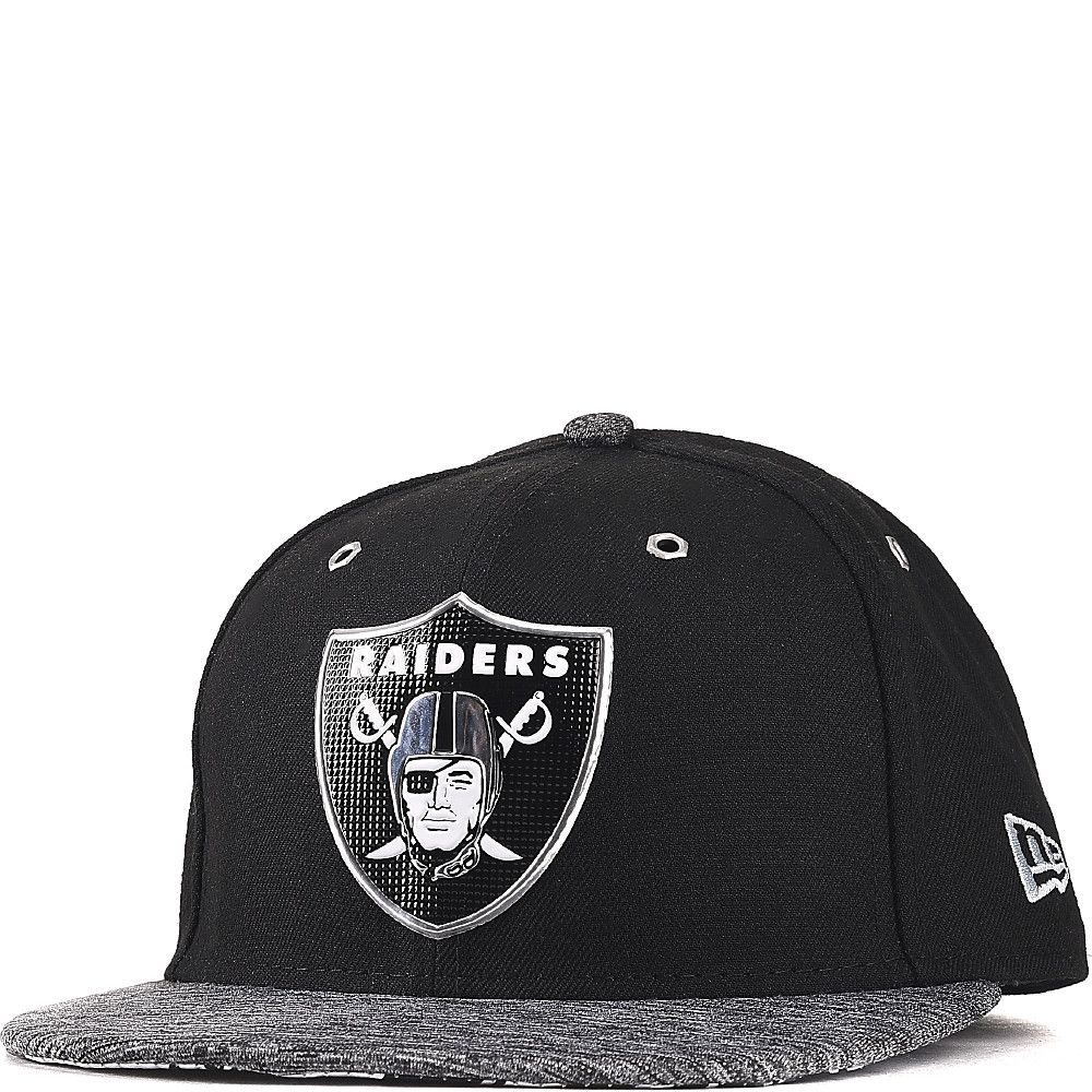 47631979d Oakland Raiders New Era Black Heathered Gray 2016 NFL Draft On Stage 59FIFTY  Fitted Hat With Liquid Chrome Graphics
