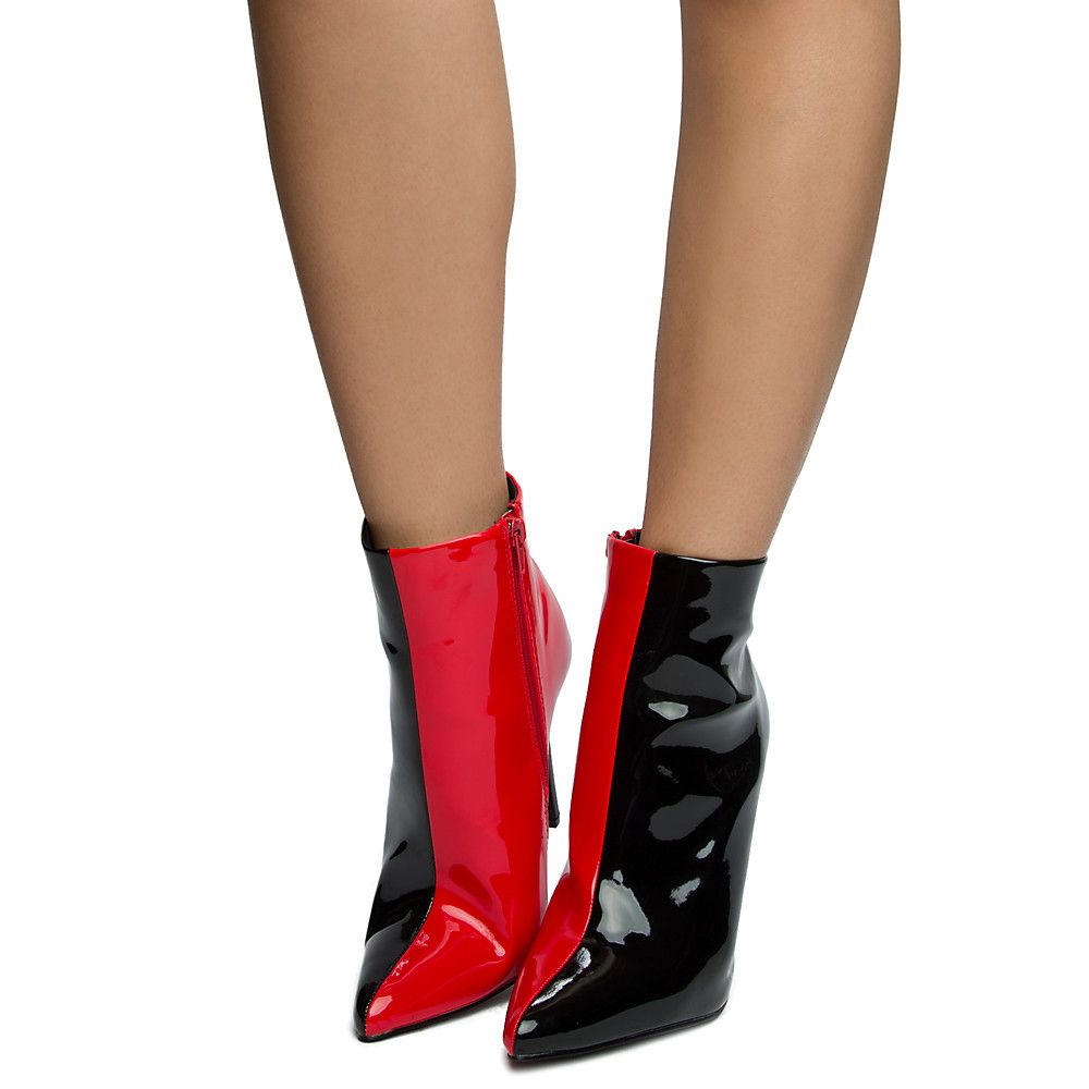 a1686963861 Women's Luanza-21 High Heel Ankle Boots Black/Red