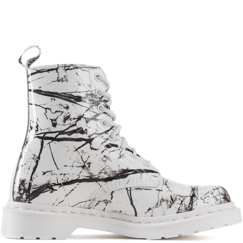 Dr Martens For Women Pascal White Marble Boots White
