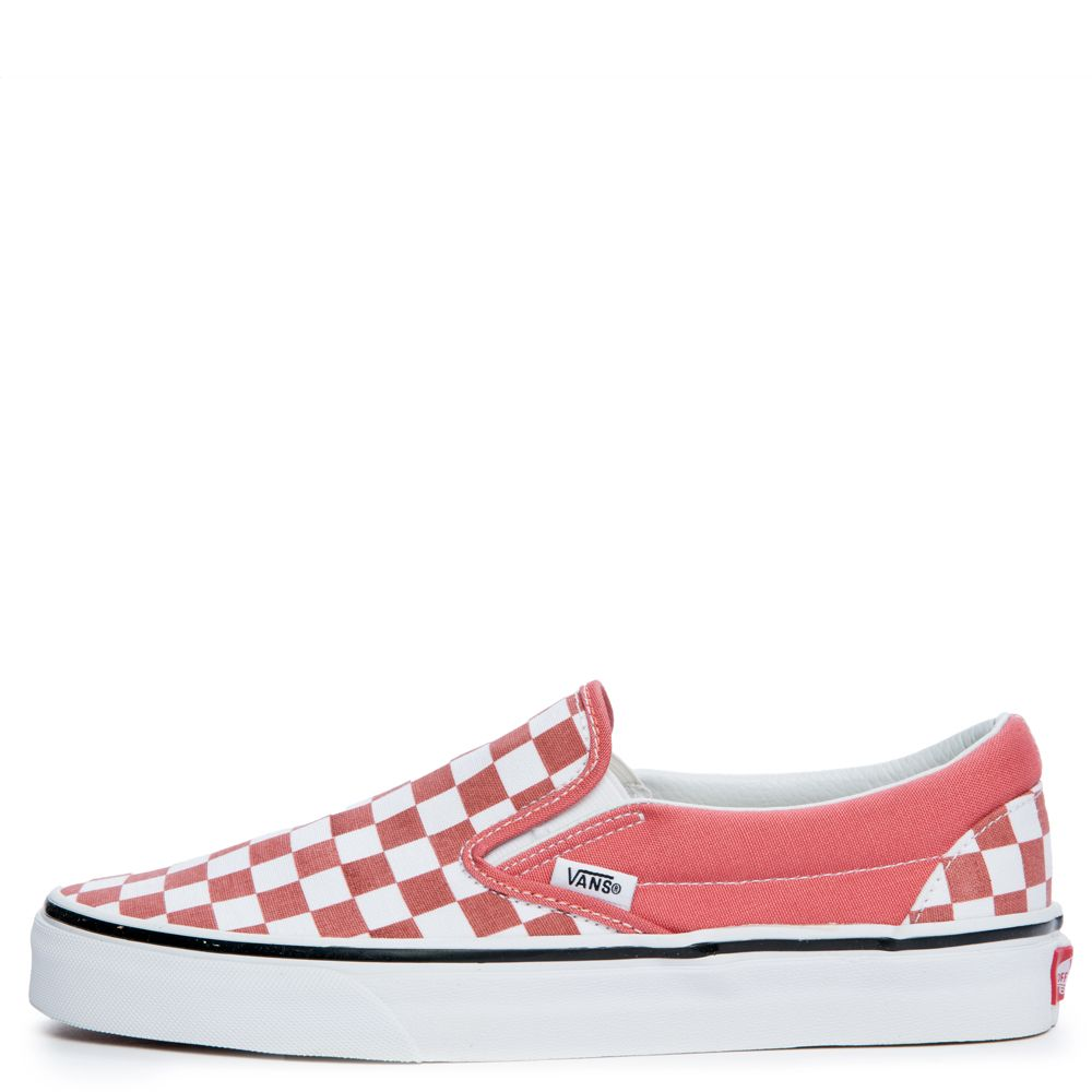 1afcafccdc6e WOMEN S VANS CLASSIC SLIP ON CHECKERBOARD FADED ROSE TRUE WHITE
