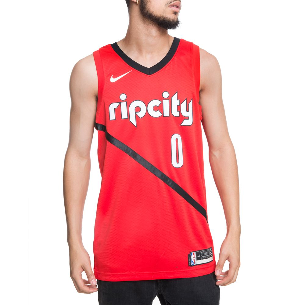 PORTLAND TRAIL BLAZERS NBA CONNECTED DAMIAN LILLARD EARNED CITY EDITION  SWINGMAN JERSEY UNIVERSITY RED BLACK ... 2ead66e2736c