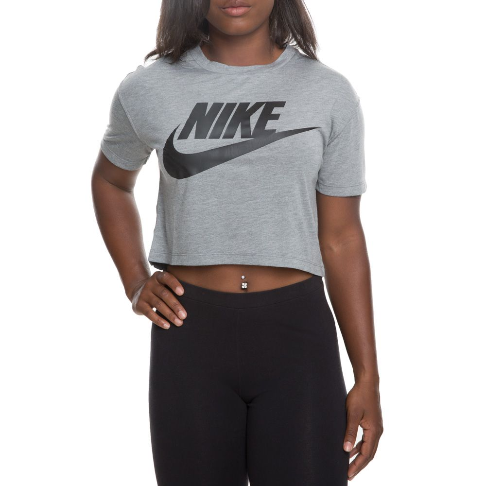 5f71a07137df65 women s nike essential short sleeve crop top carbon heather black