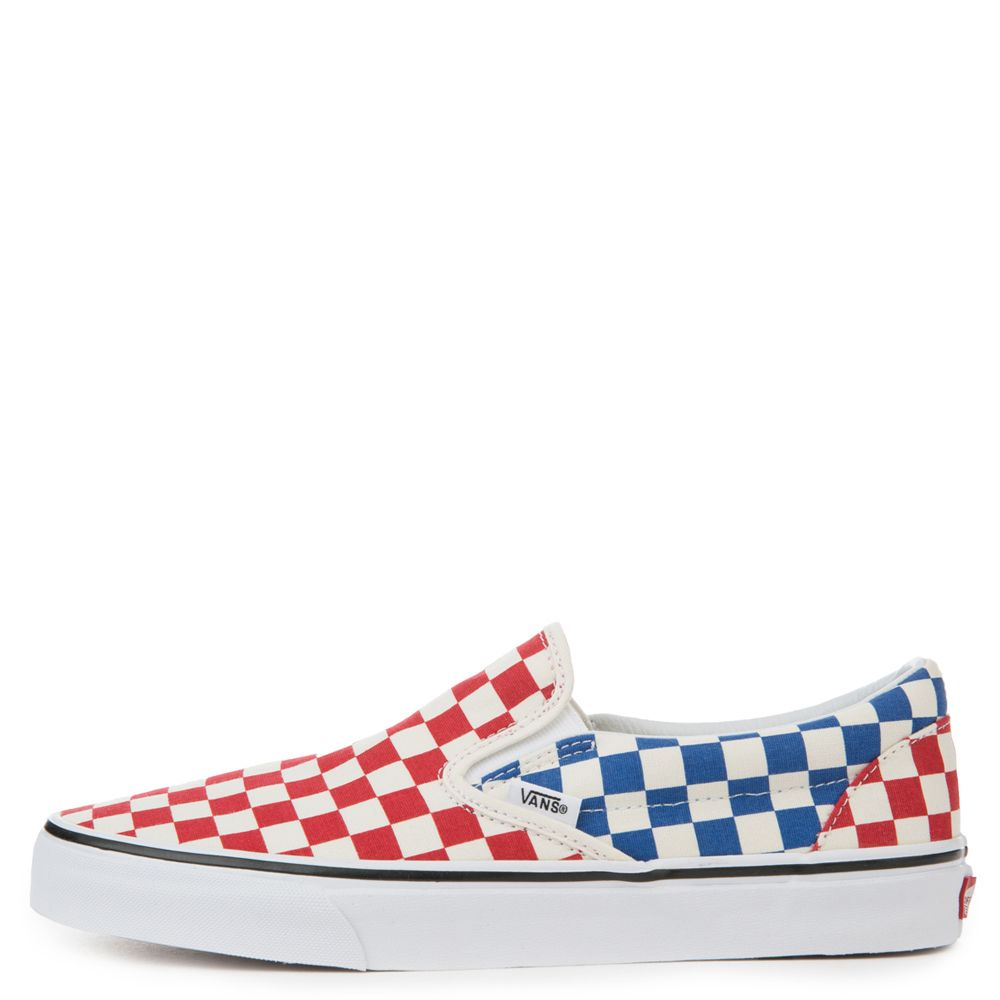 UNISEX VANS CLASSIC SLIP-ON RED BLUE CHECK 3f19952ac