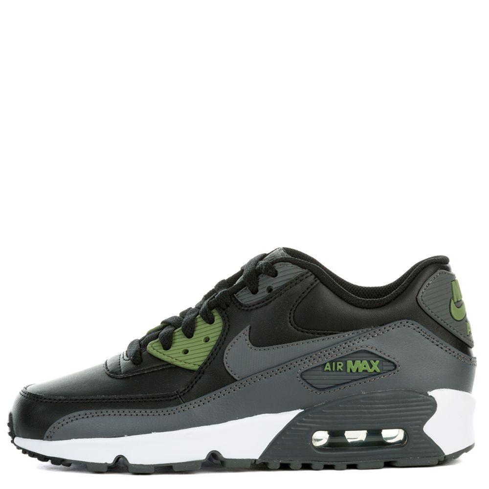 Air Max 90 Leather ( BLACK DARK GREY-PALM GREEN-WHITE d4d0f03cc