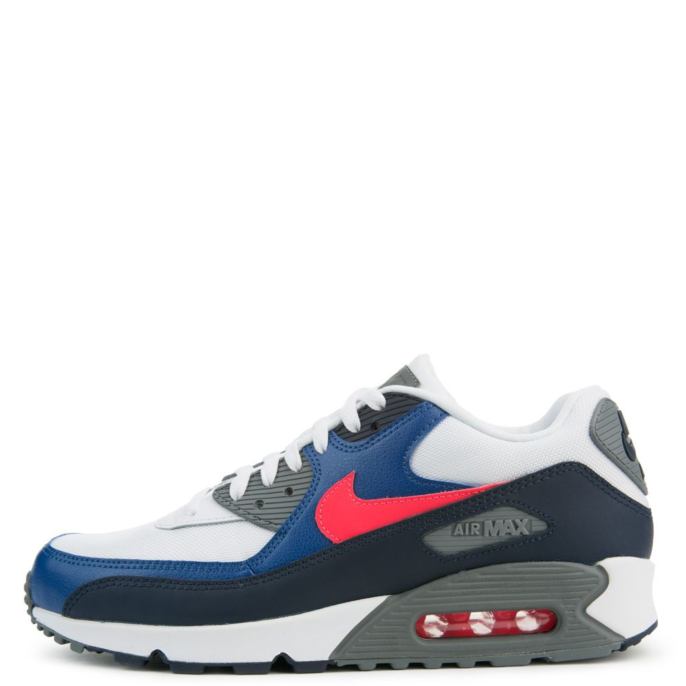 Air Max 90 Essential WHITE SOLAR RED OBSIDIAN GYM BLUE 9a37afd14
