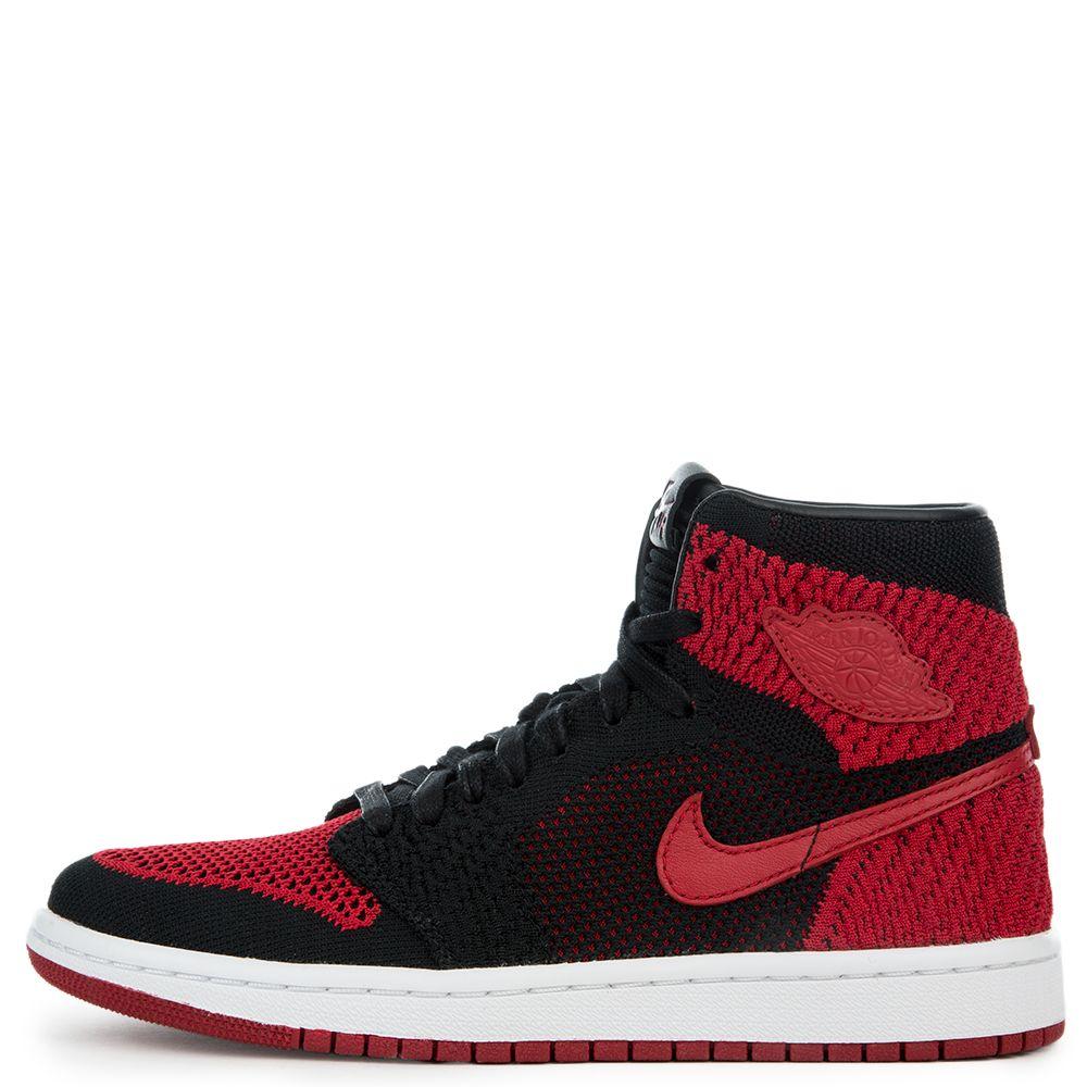 919532464480 Air Jordan 1 Retro Hi Flyknit BLACK VARSITY RED WHITE