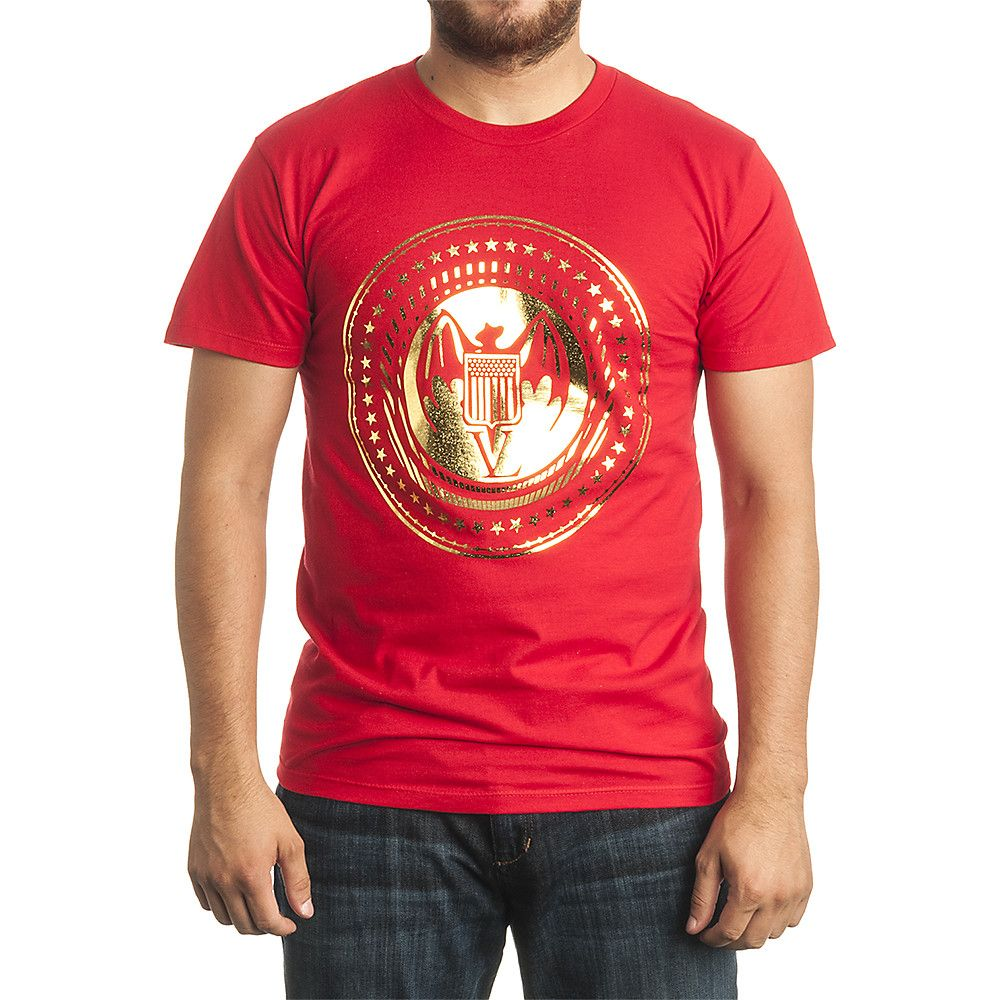 Pres Bat Tee Red Gold