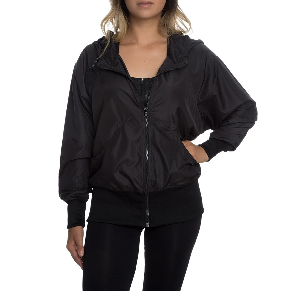 0363551209b72 Women's Nylon Windbreaker BLACK