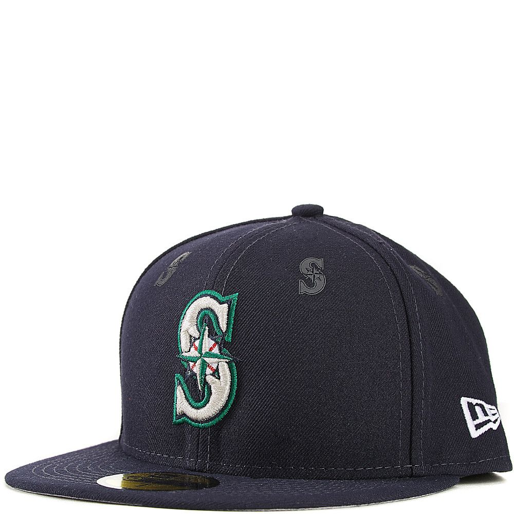 2d433feebb0 Seattle Mariners Fitted Hat Royal DARK BLUE GREY New Era 59FIFTY With  Rubber Team Logo Decals
