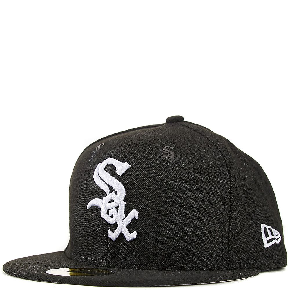 3d2e63792a9 Chicago White Sox Fitted Hat Black Grey New Era 59FIFTY With Rubber Team  Logo Decals