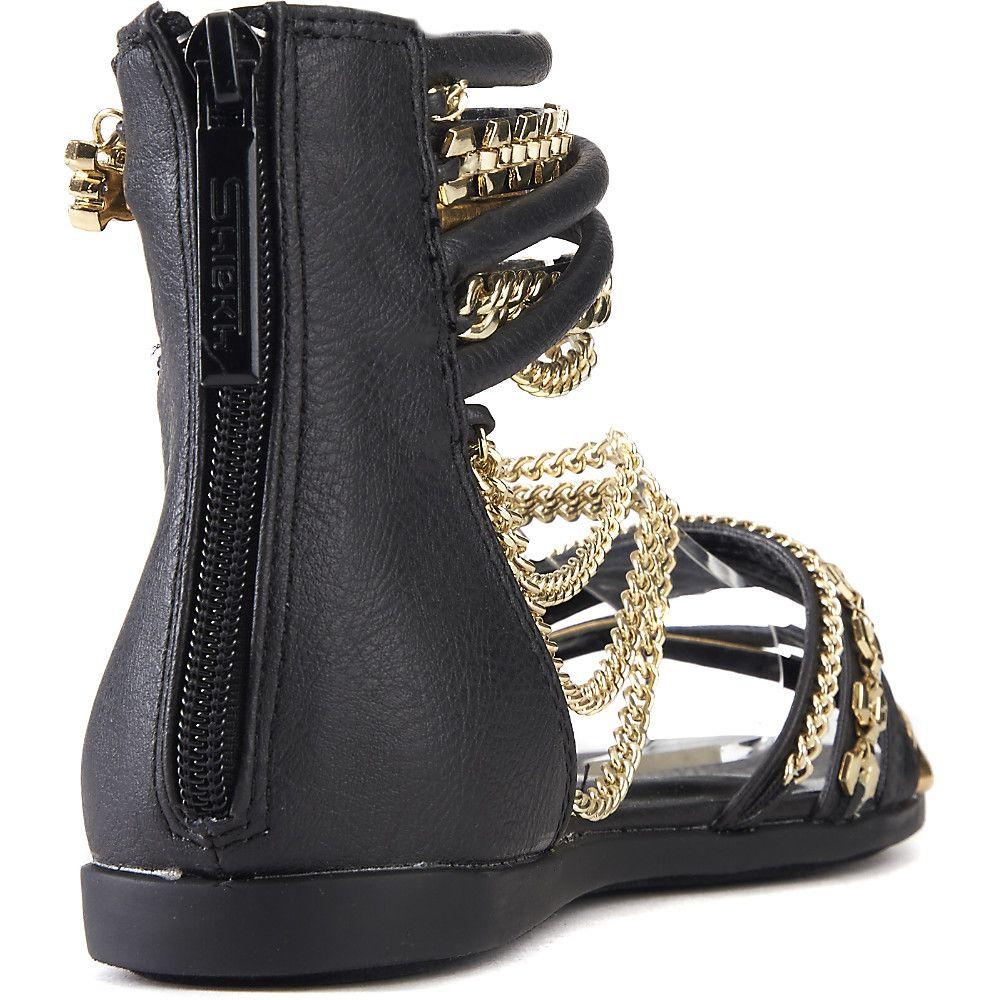 df2aaca22c92e1 Women s Love All Flat Jeweled Sandal Black Gold