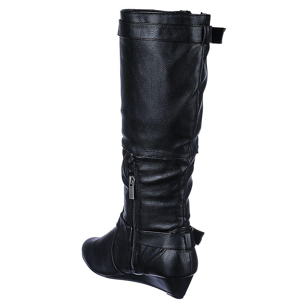 8858a509d5a Women's Low Heel Wedge Boot Tamara-62 Black