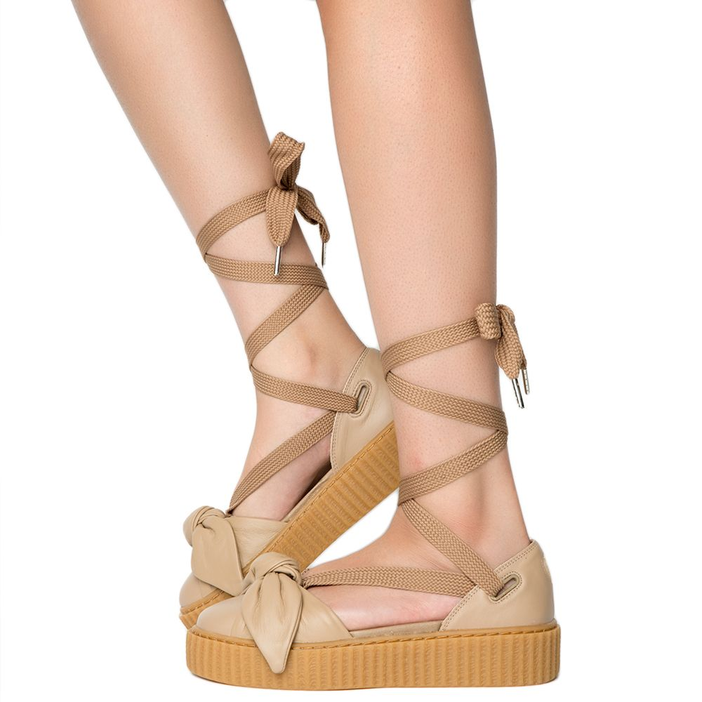 8eae6c38a6211d Womens Bow Creeper Sandal Natural-Natural-Oatmeal