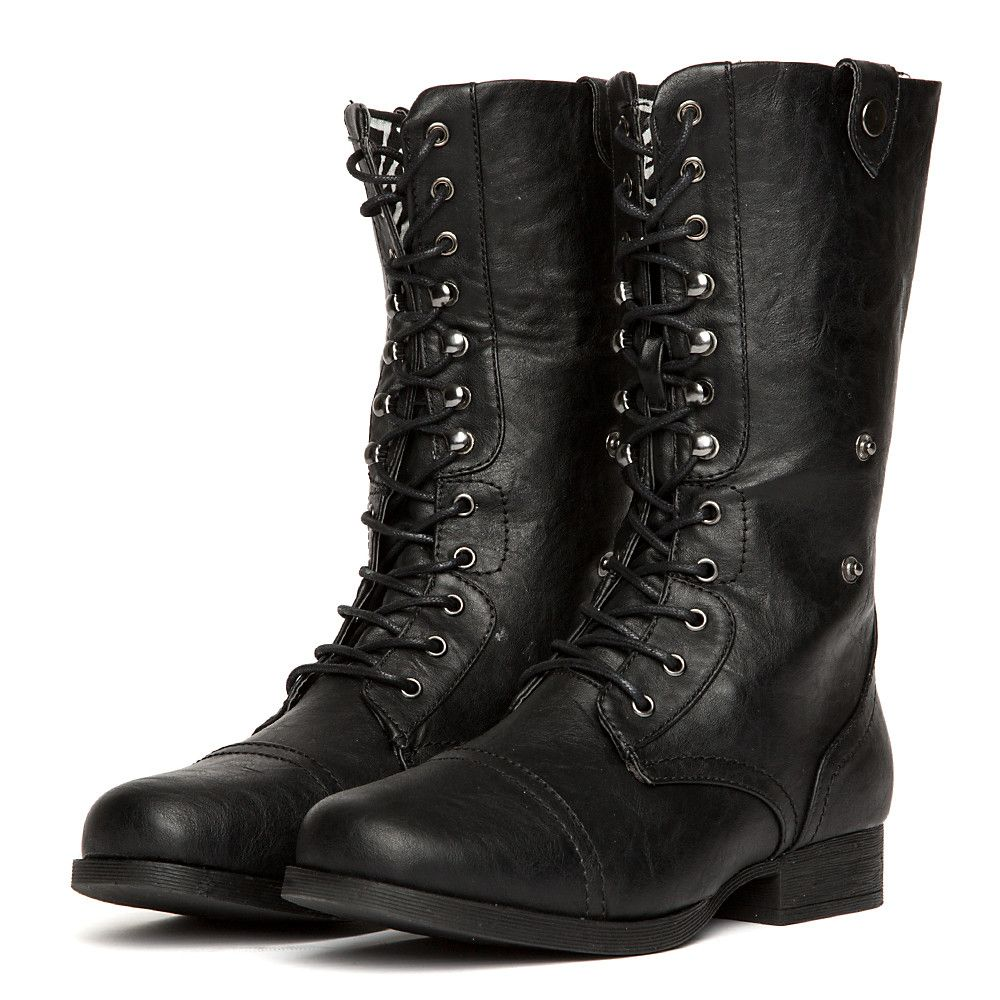 696f1b4ba68 Women's Leather Combat Boot Jetta-25E BLACK