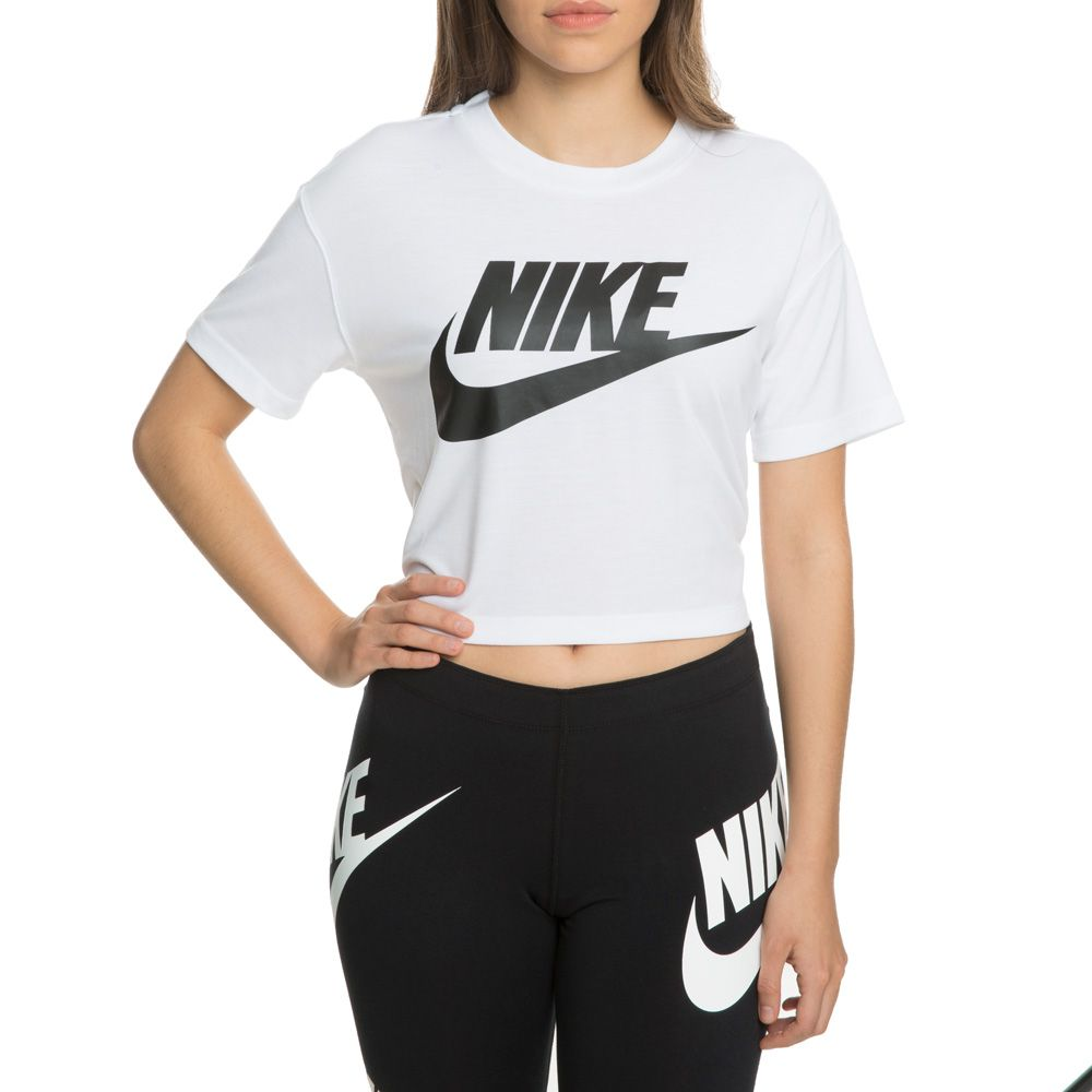 3fe0af755d6414 WOMEN S NIKE SPORTSWEAR ESSENTIAL CROP TOP WHITE BLACK
