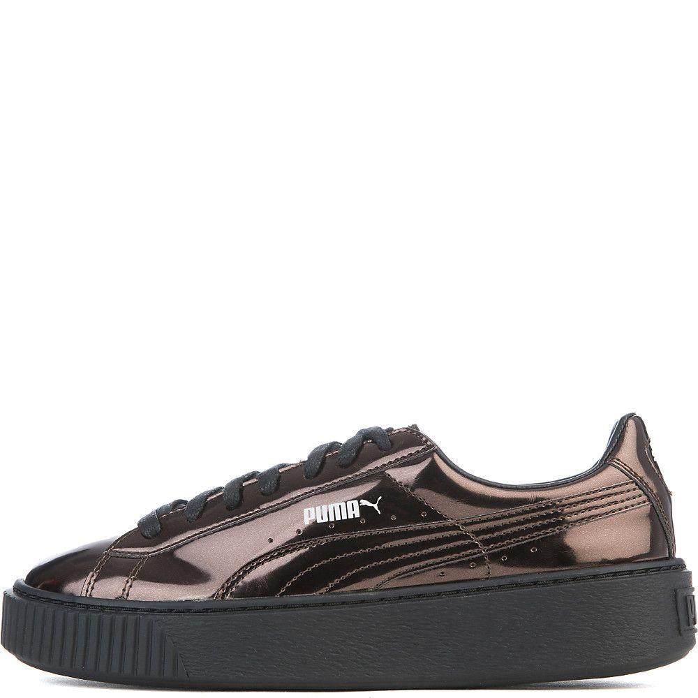 c8636dde54f Women s Basket Platform Metallic Casual Sneaker Black Bronze