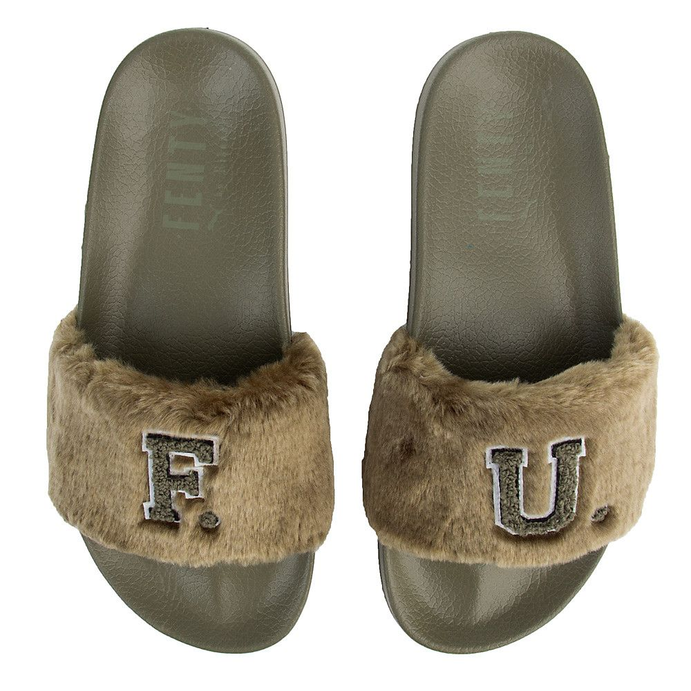 691c7f84f3d Women s Leadcat Fenty Fu Fur Slide Burnt Olive-Puma Black