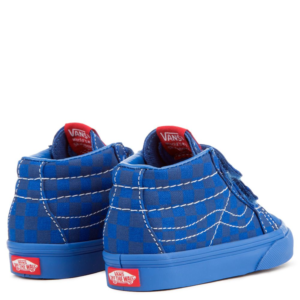 06c75a228aed TODDLER VANS SK8-MID REISSUE V MONO CHECKERBOARD BLUE