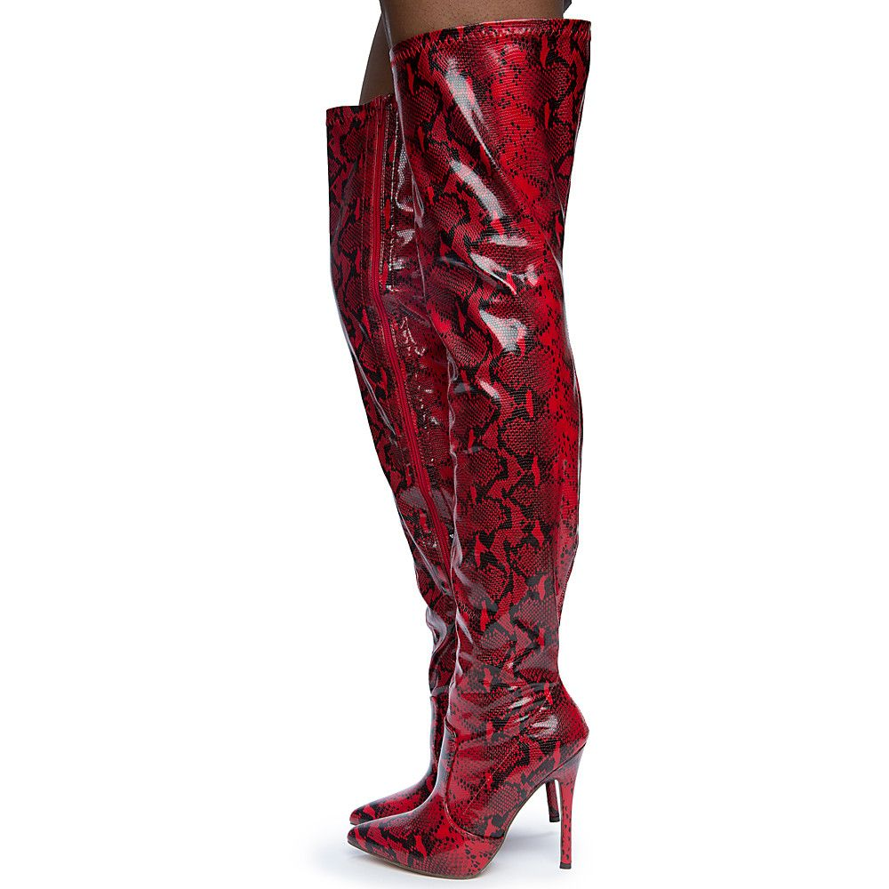 739f76cf494 Women s Hokkaido-3 Thigh High Boots RED BLACK SNAKE