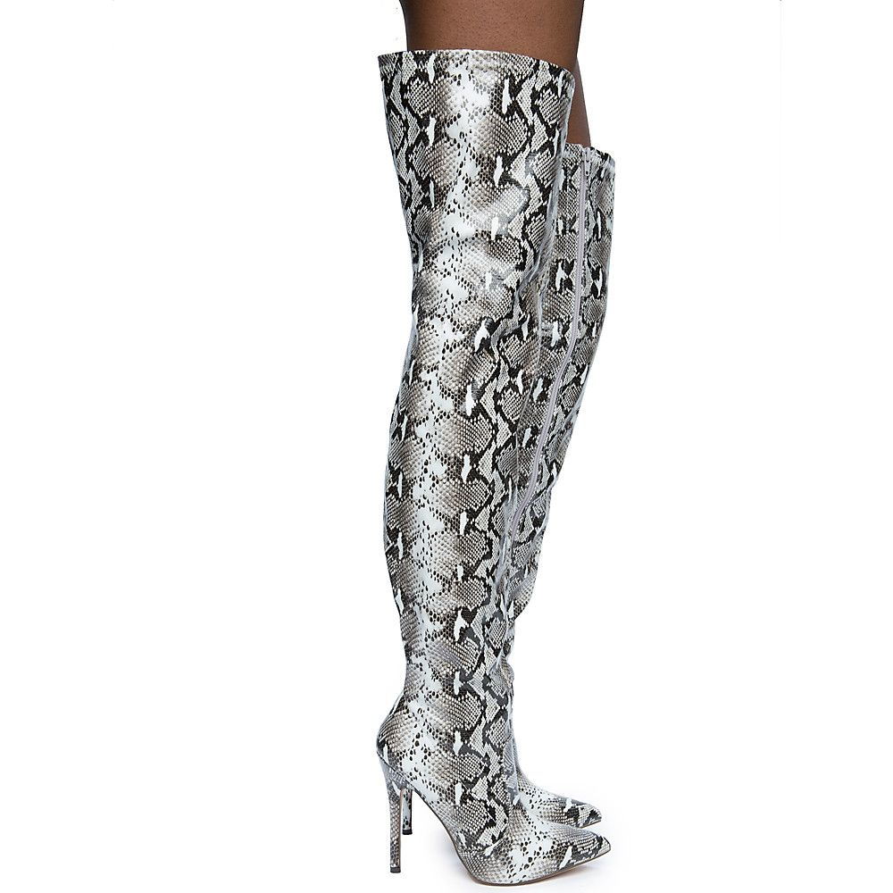 Women s Hokkaido-3 Thigh High Boots BLACK WHITE SNAKE 31008ed85