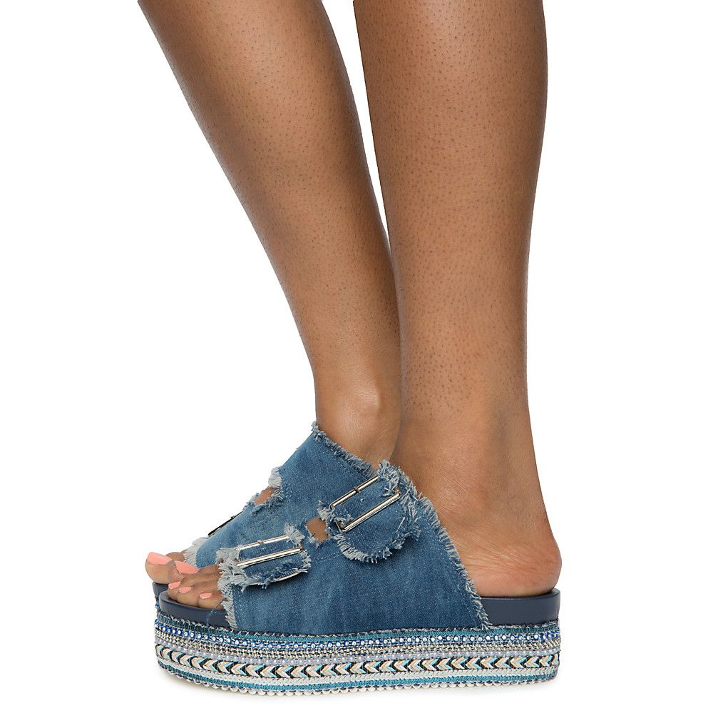 01 Platform Blue Denim Ernie Sandals Women's kwPnO80