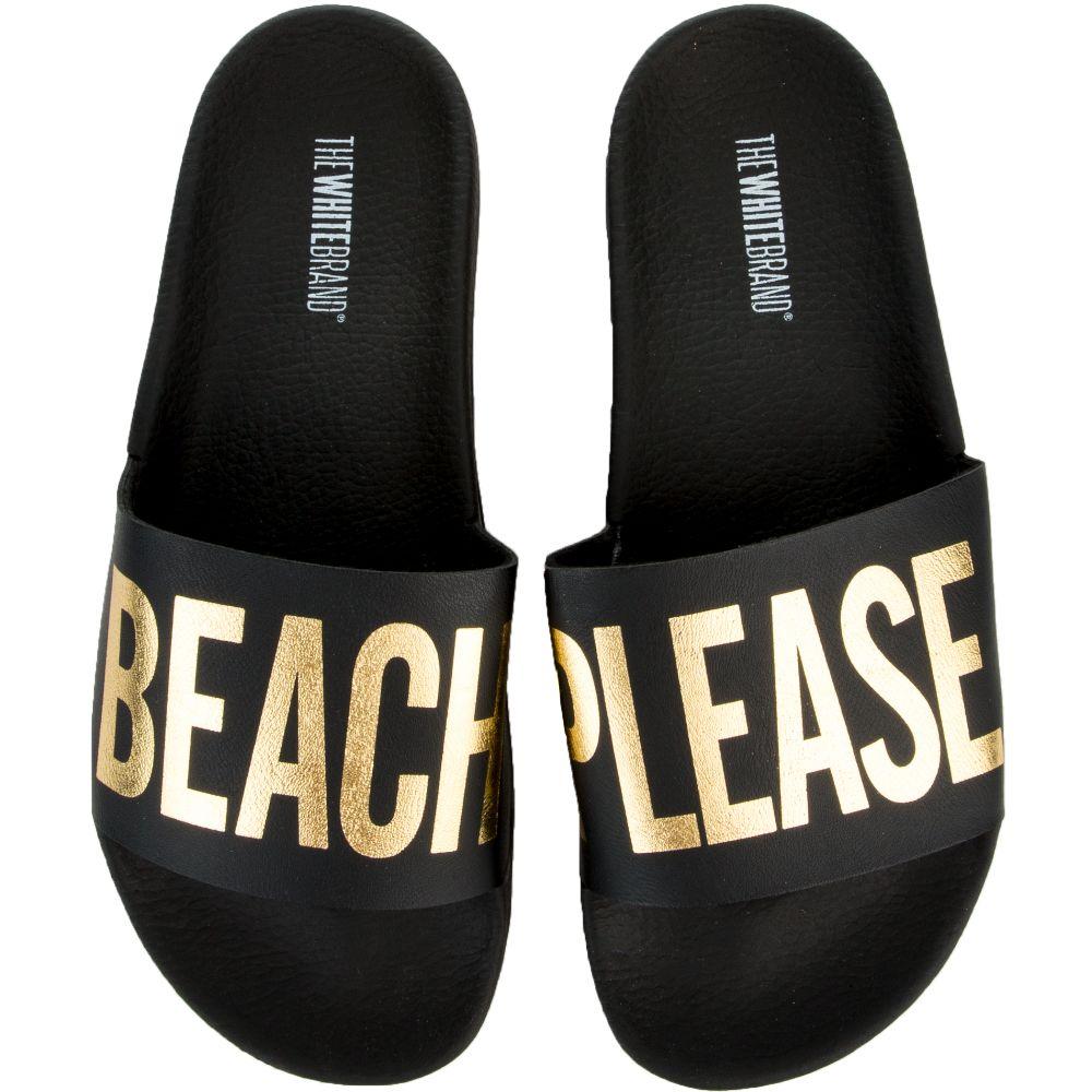 0a3e1f4474e The Beach Please Slides in Black and Gold Black Gold