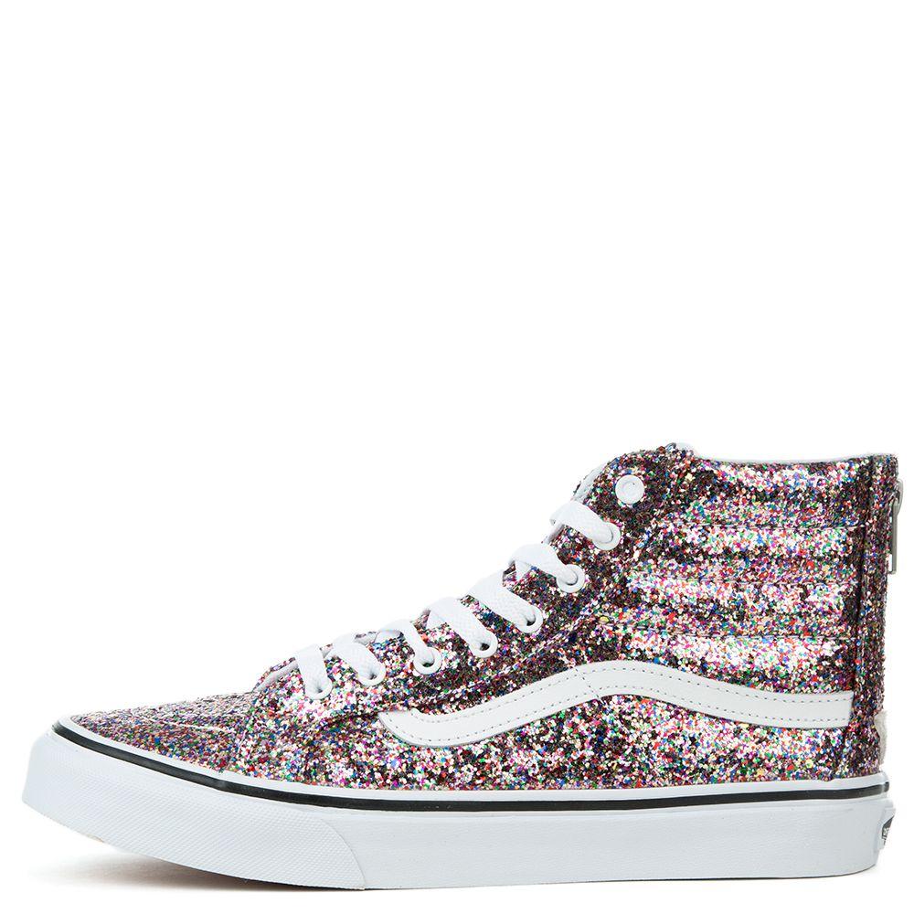 96824492e40 Women s SK8-Hi Slim Zip (Chunky Glitter) Sneaker TRUE WHITE