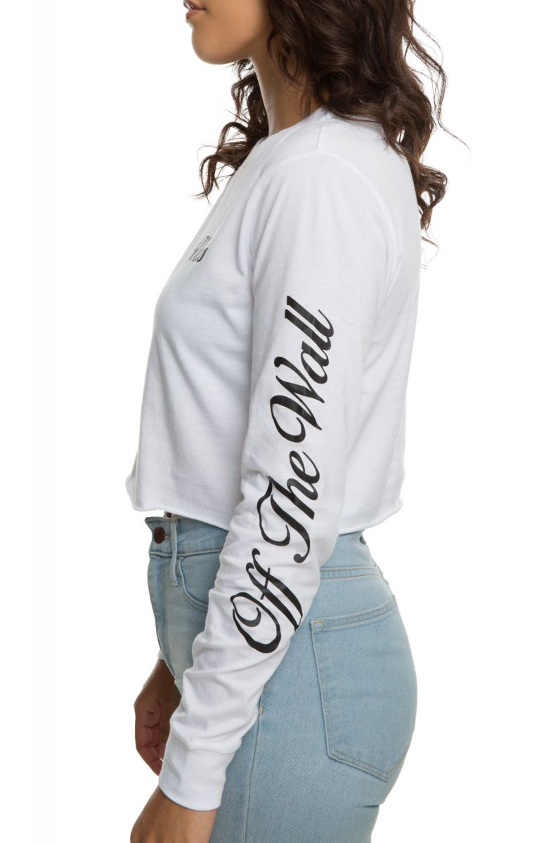 d143006e Brush Off Long Sleeve Crop in White White