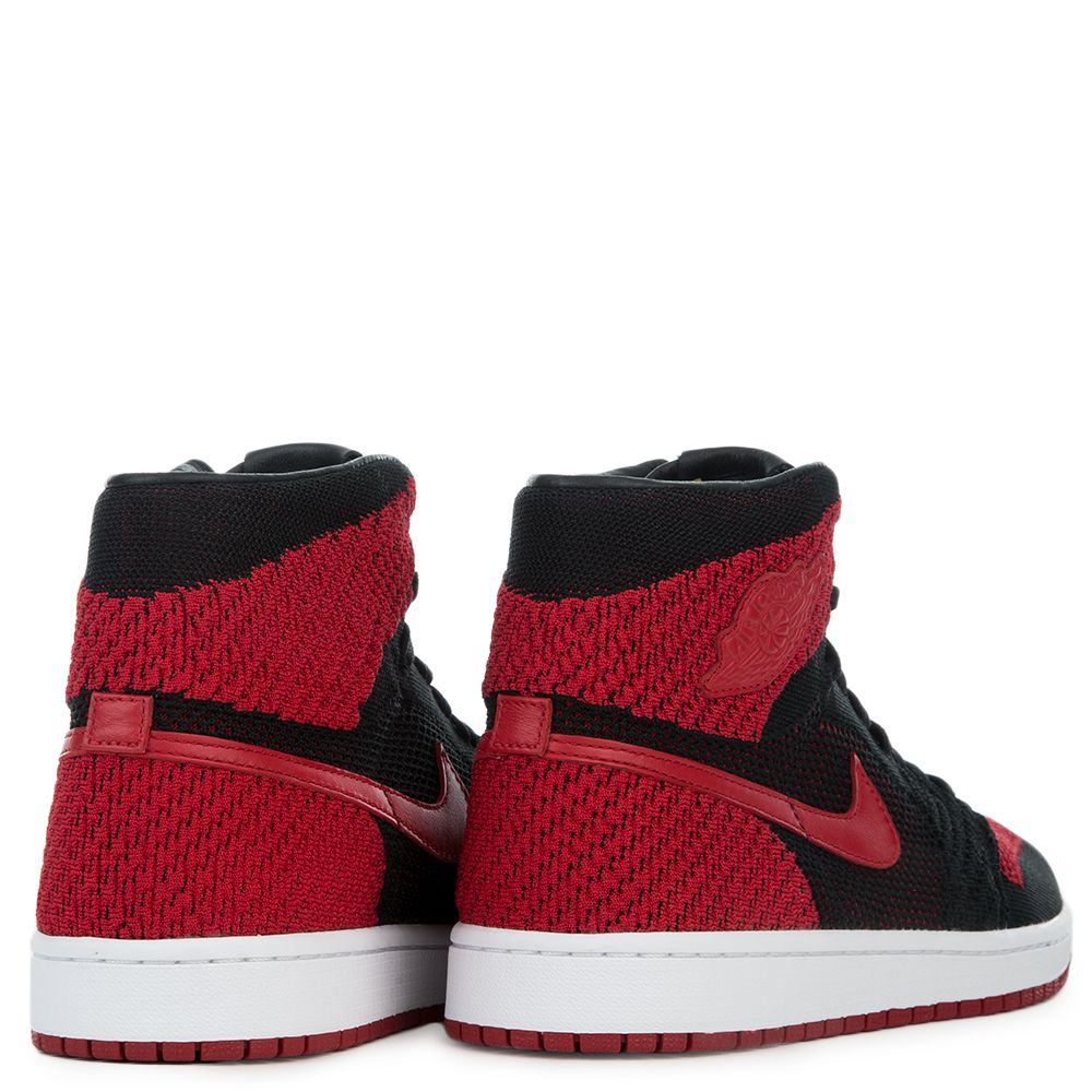 new products 03b63 028d6 MEN S AIR JORDAN 1 RETRO HI FLYKNIT BLACK VARSITY RED WHITE