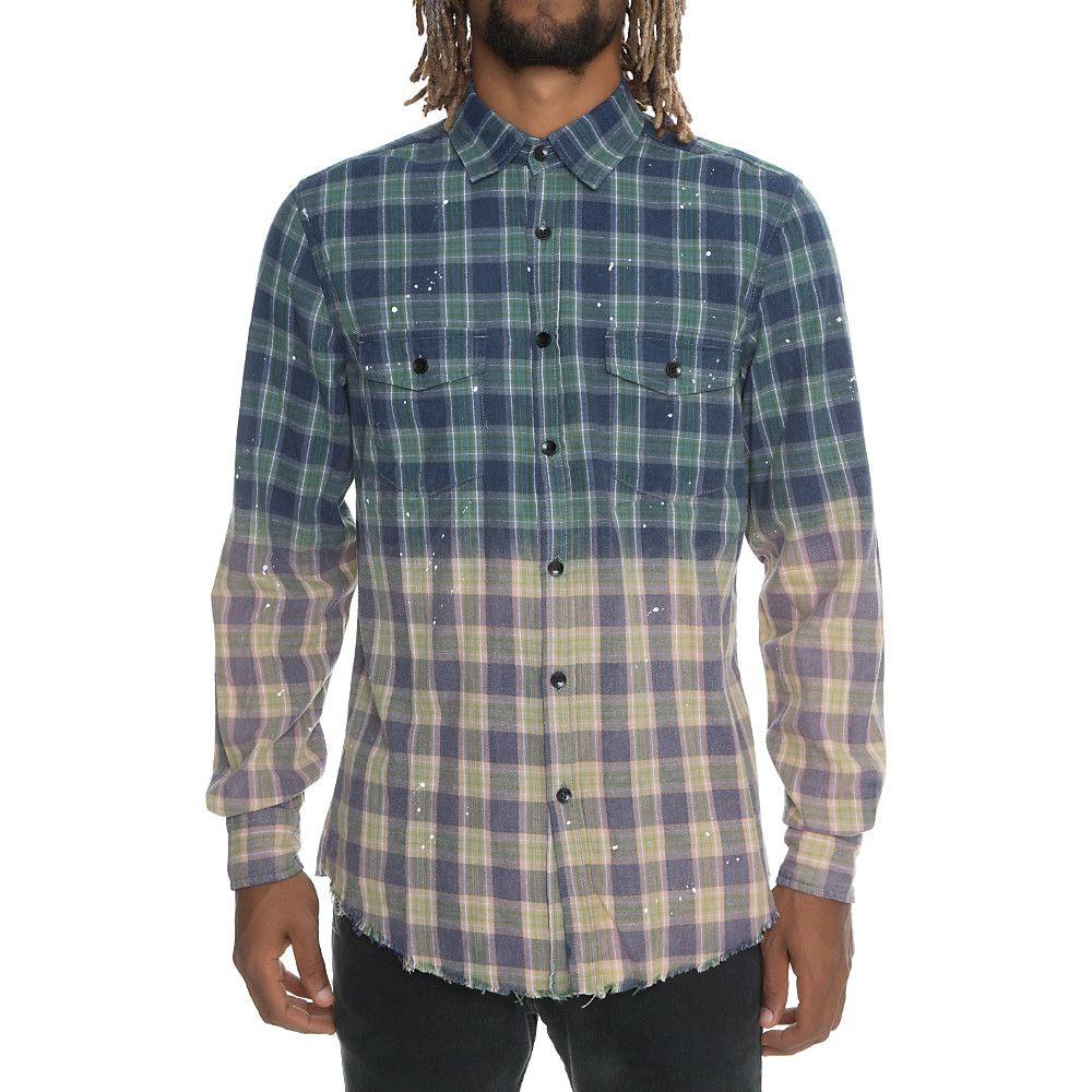 Men S Deconstructed Flannel Shirt Blue