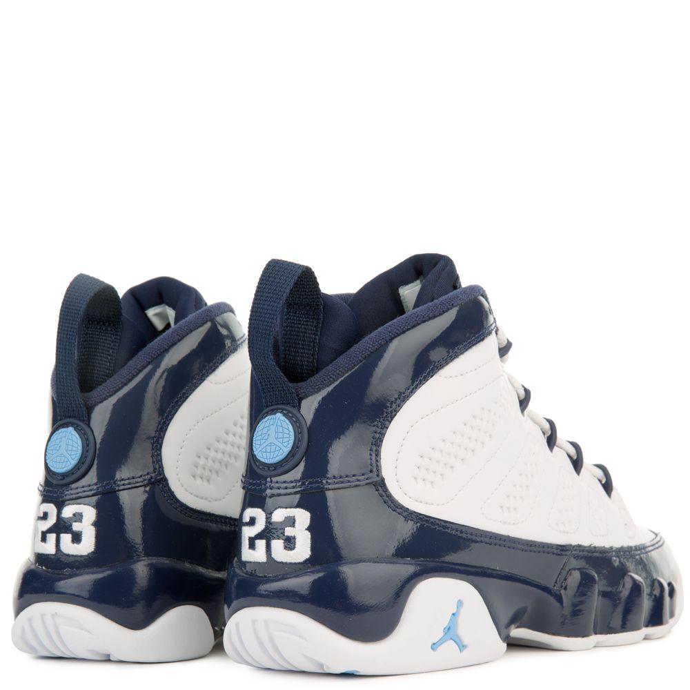 promo code 7a714 7529f (GS) AIR JORDAN 9 RETRO WHITE UNIVERSITY BLUE-MIDNIGHT NAVY`