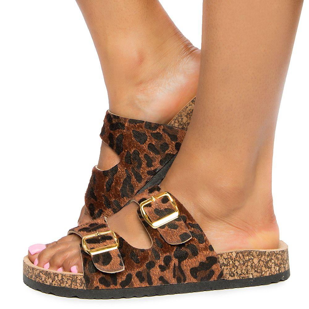 a9430541518 Women s Danger Two Buckle Strap Sandal Leopard
