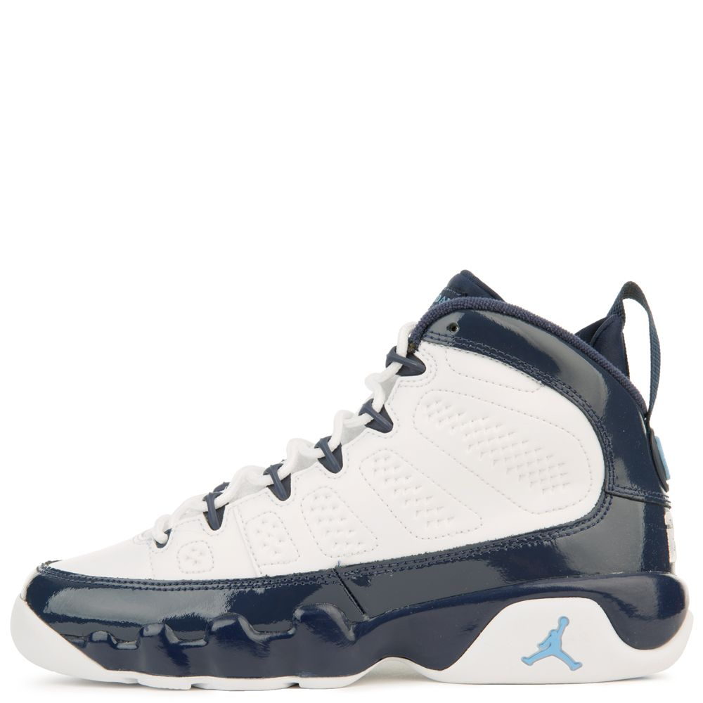 4f4efa709db (gs) air jordan 9 retro white/university blue-midnight navy