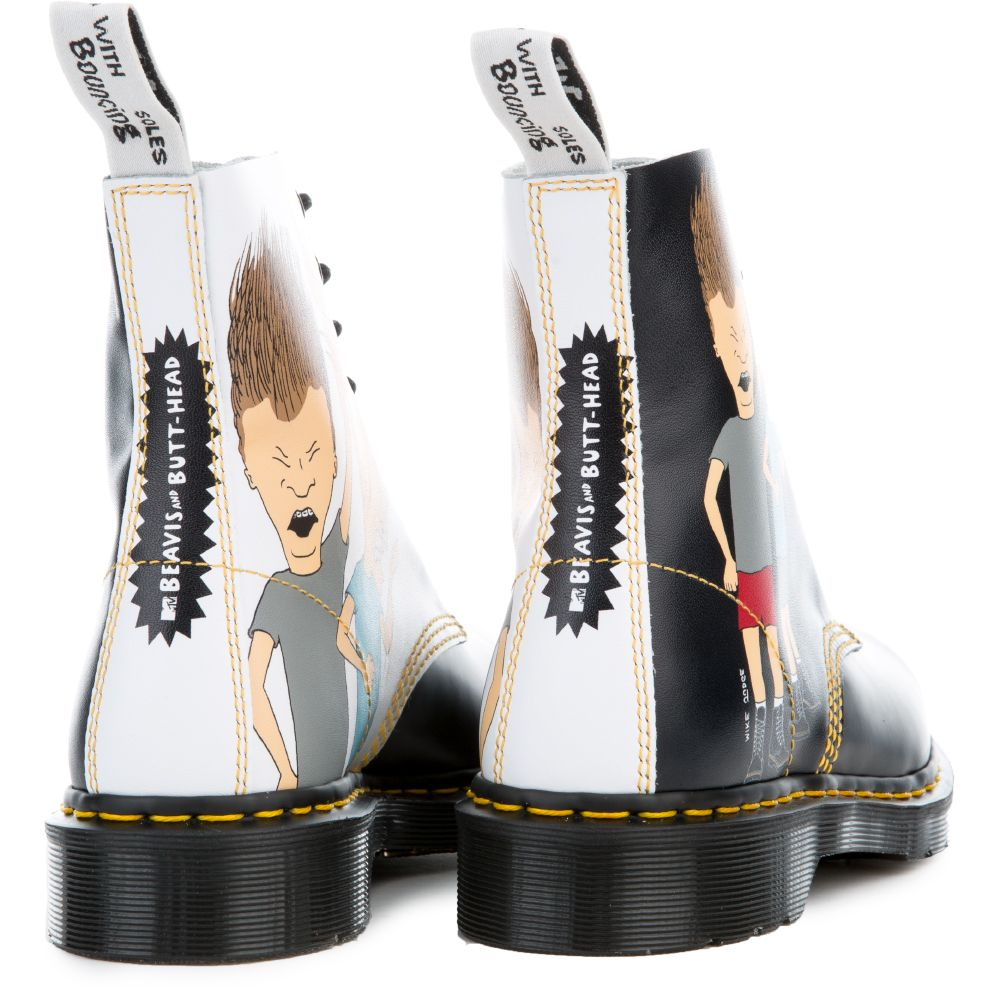 ad2f5ed7a8 Unisex Beavis & Butt-Head Pascal Black + White Boots BLACK/WHITE PRINT.  $150.00. In stock