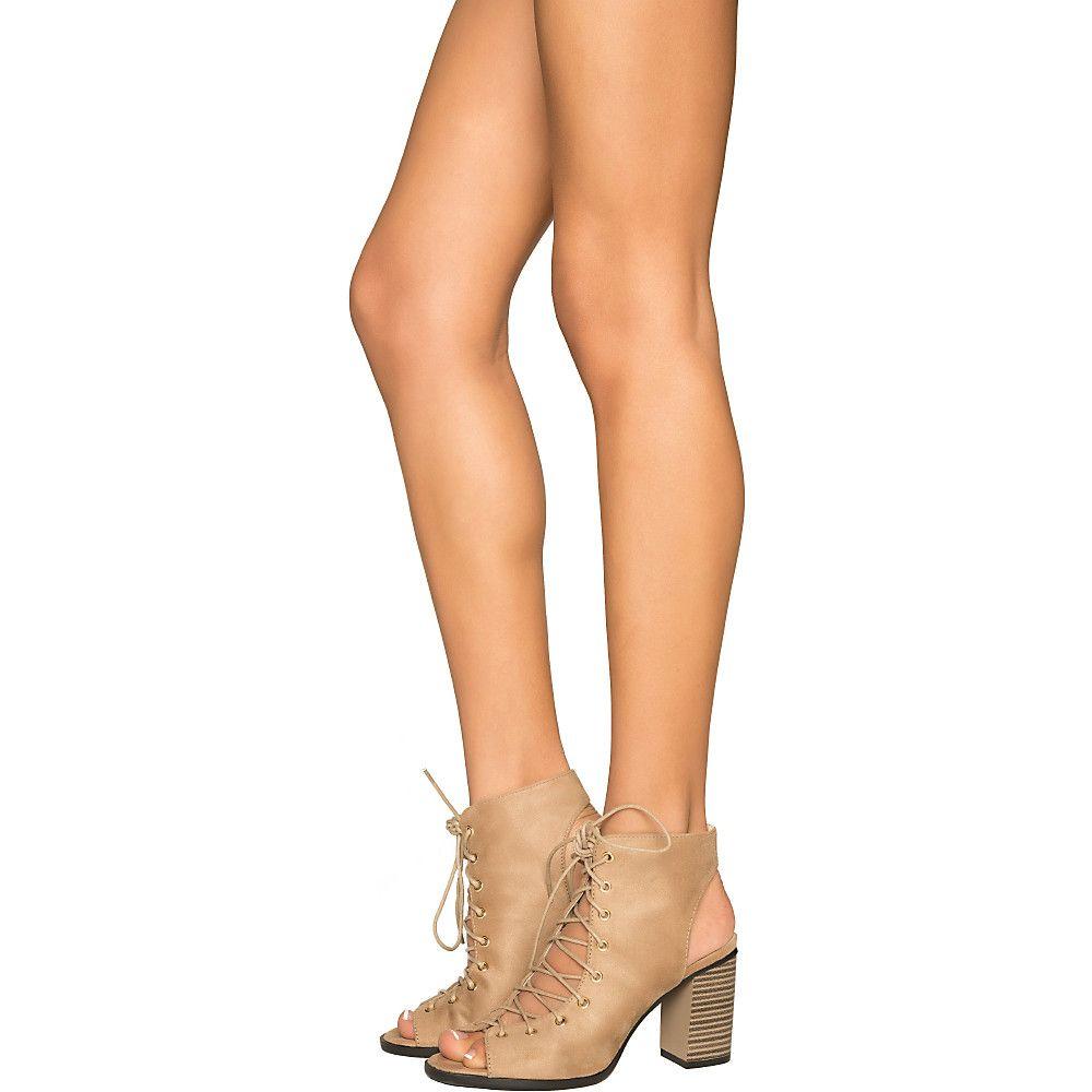 Women s Carrie-5 Lace-Up Low Heel Bootie Nude bdd40dd90