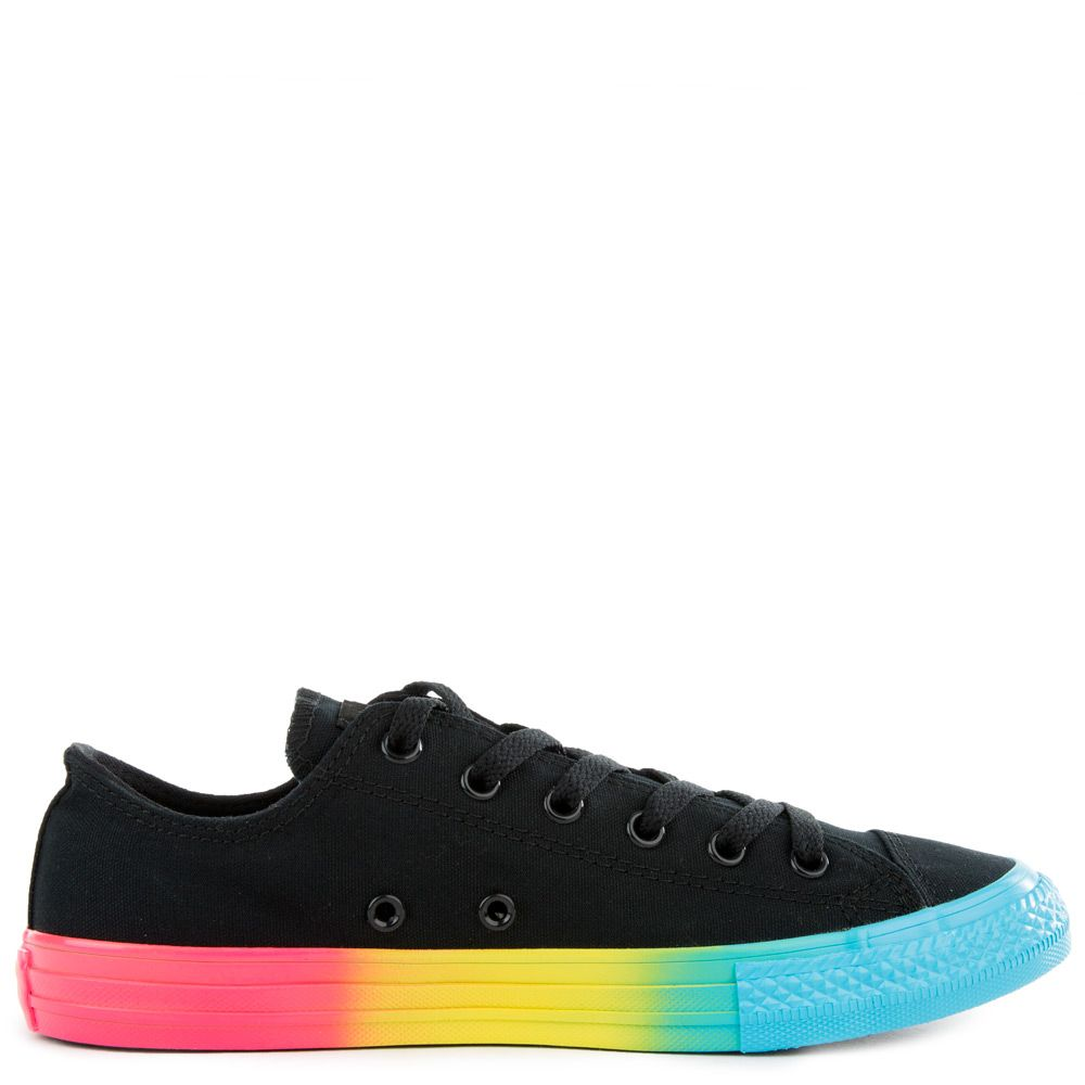 9cb597d5e792 ... (GS) CHUCK TAYLOR ALL STAR RAINBOW ICE LOW TOP BLACK/RACER PINK/ ...