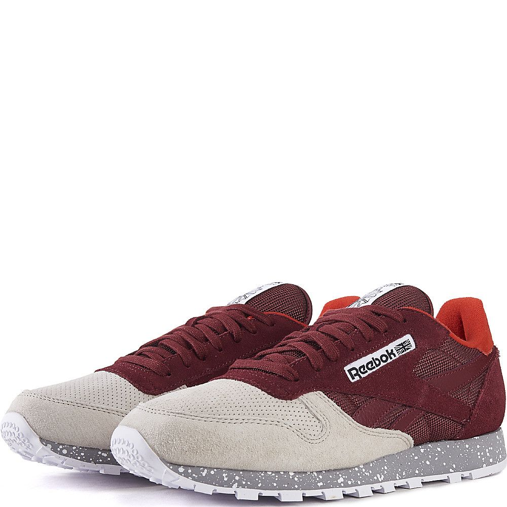 6a3e776166ae Burgundy   Red   Gray   Cream Men s CL Leather SM Running Sneaker