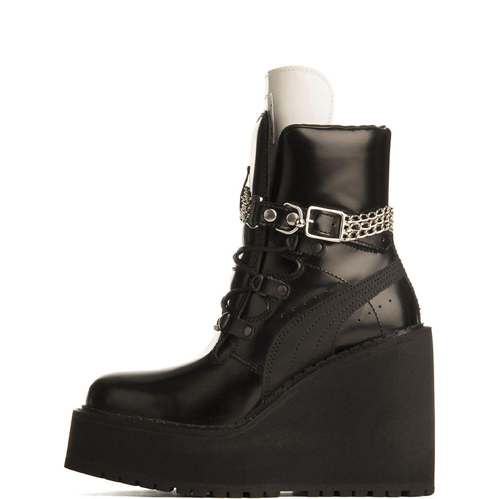 Puma Black Rihanna Sneaker Wedge Ankle Boot  15d899555