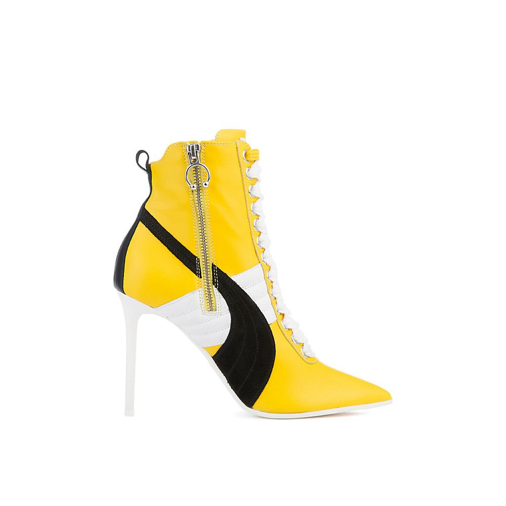 c8be94a3ac8 Women s Rihanna High Heel Leather Ankle Boot Yellow Black White