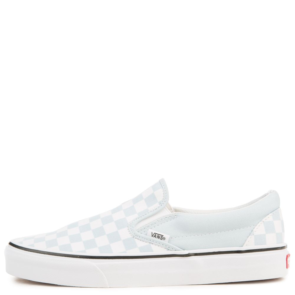 women s vans classic slip-on checkerboard baby blue true white cb9ed21c0c90