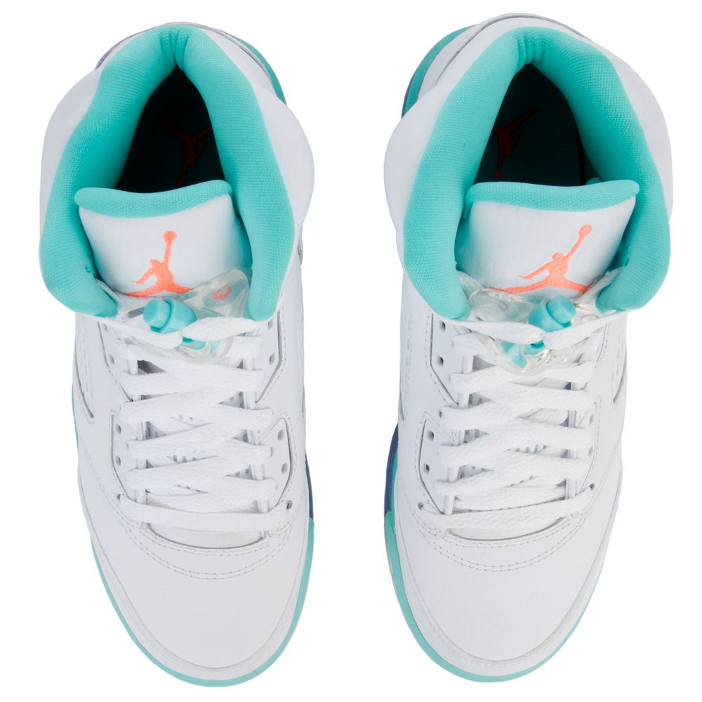 buy online 17703 6c2d9 AIR JORDAN 5 RETRO GS WHITE CRIMSON PULSE-LIGHT AQUA-BLACK