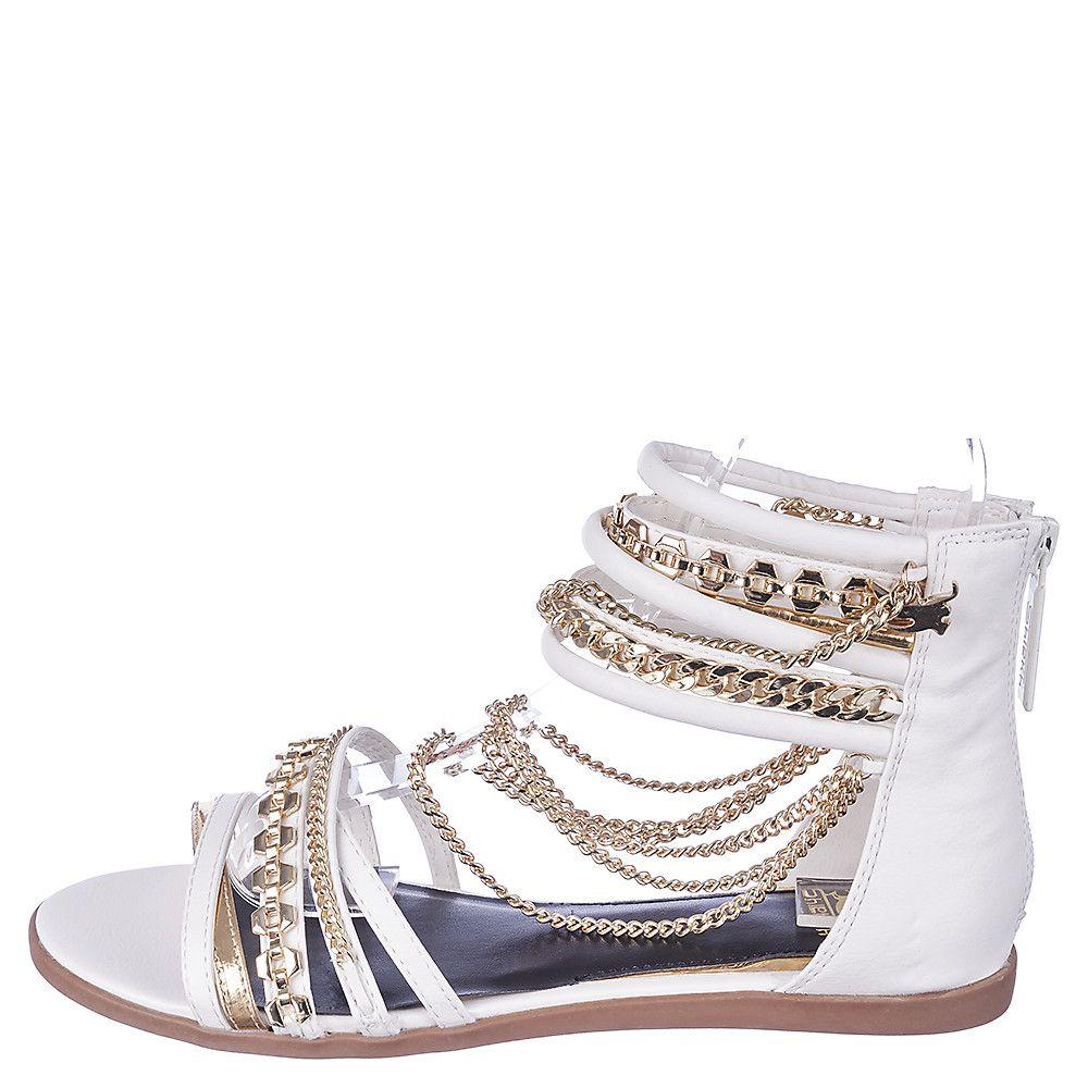 1e84cead9293da Women s Love All Flat Jeweled Sandal White Gold